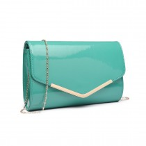 LH1809-Miss Lulu Patent leather Envelope Clutch Bag Green