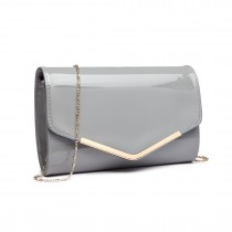 LH1809-Miss Lulu Patent leather Envelope Clutch Bag Grey
