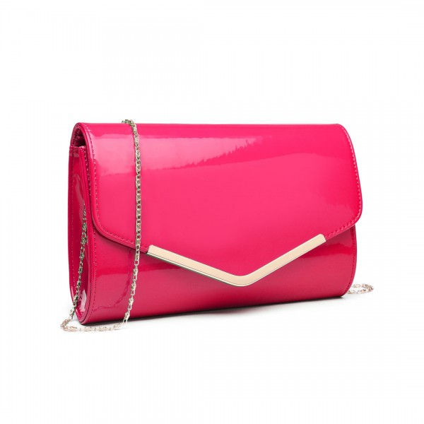 LH1809-Miss Lulu Patent leather Envelope Clutch Bag Plum
