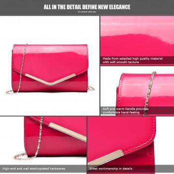 LH1809-Miss Lulu Patent leather Envelope Clutch Bag Plum