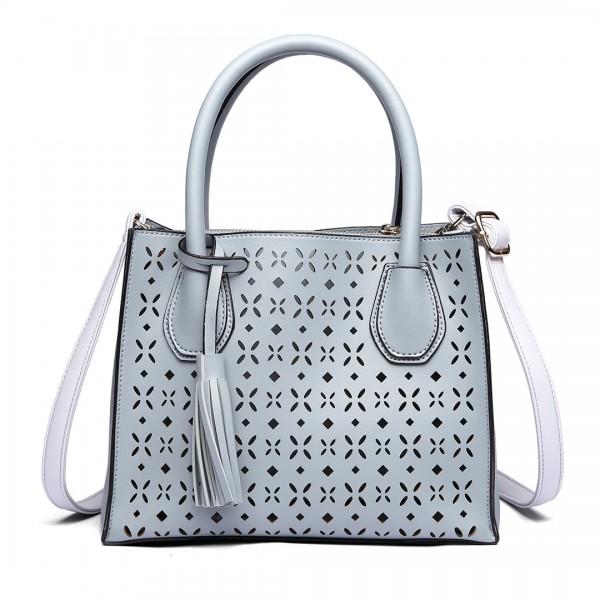 LH1817- MISS LULU Laser Cut Tassel Tote Handbag Blue