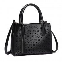 LH1817- MISS LULU Laser Cut Tassel Tote Handbag Black