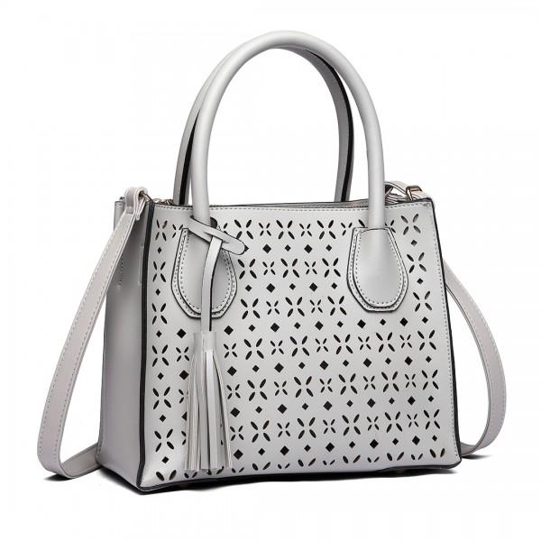 LH1817- MISS LULU Laser Cut Tassel Tote Handbag Gray