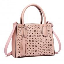 LH1817-MISS LULU Mesdames PU Sac à main en cuir creux-out Tassel fourre-tout sac à bandoulière rose
