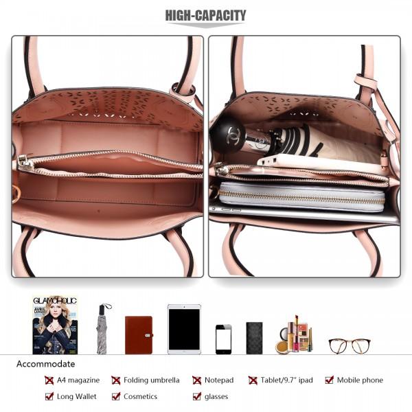 LH1817- MISS LULU Laser Cut Tassel Tote Handbag Pink