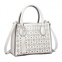 LH1817- MISS LULU Laser Cut Tassel Tote Handbag White