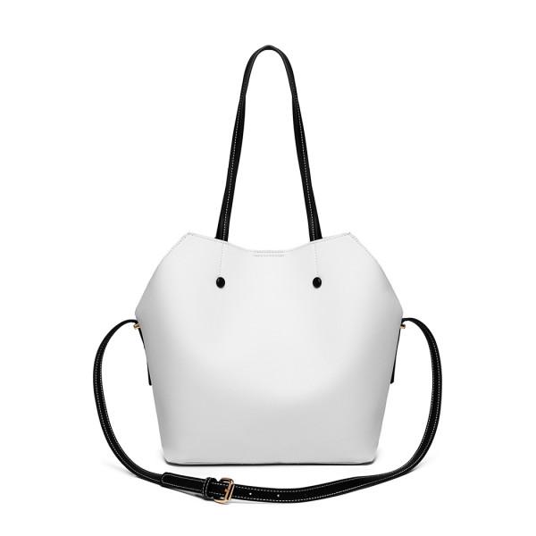 LH1908 - MISS LULU 2 PIECE MULTI-WAY SHOULDER TOTE BAG - WHITE
