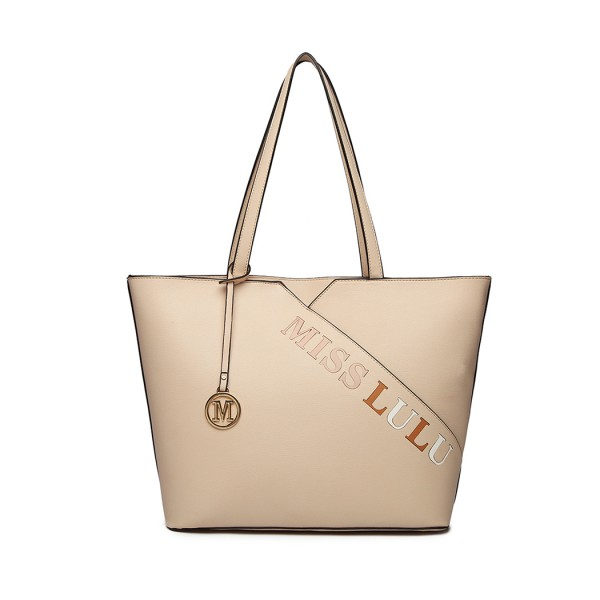 LH1920 - MISS LULU LEATHER LOOK EMBROIDERED TOTE BAG - BEIGE