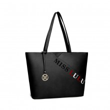 LH1920-MISS LULU LEATHER LOOK EMBROIDERED TOTE BAG BLACK
