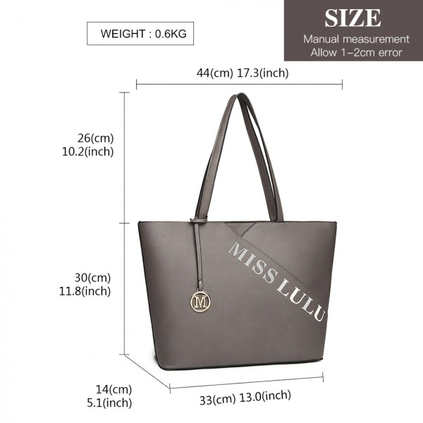 LH1920 - MISS LULU LEATHER LOOK EMBROIDERED TOTE BAG - GREY