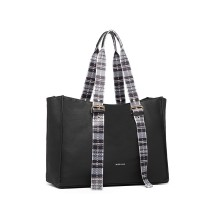 LH1924- miss LULU PLAID TARTAN STRAP SHULDER BAG- BLACK