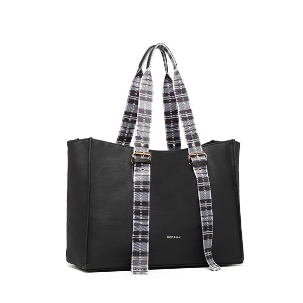 LH1924 - MISS LULU PLAID TARTAN STRAP SHOULDER BAG - BLACK