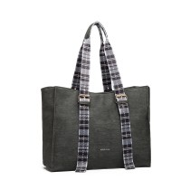 LH1924- MISS LULU PLAID TARTAN STRAP SHULDER BAG- GRY