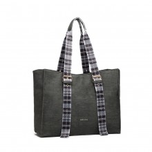 LH1924 - MISS LULU PLAID TARTAN STRAP SHOULDER BAG - GREY