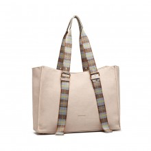 LH1924 - MISS LULU PLAID TARTAN STRAP SHOULDER BAG - PINK