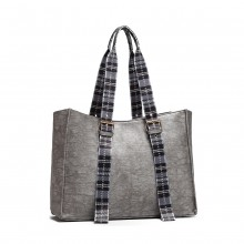 LH1924 - MISS LULU PLAID TARTAN STRAP SHOULDER BAG - SILVER