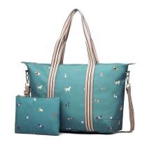 LB1929 - Miss Lulu Matte Oilcloth Plegable Bolsa de noche Estampado Unicornio Blue
