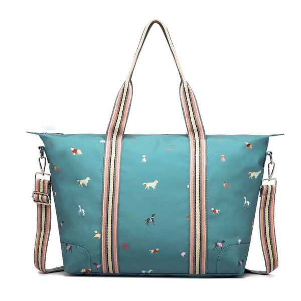 LH1929 - MISS LULU MATTE OILCLOTH FOLDAWAY OVERNIGHT BAG DOG PRINT - BLUE