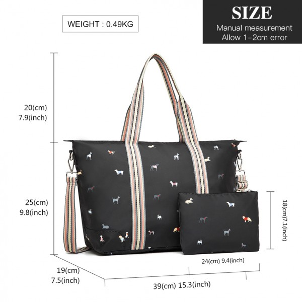 LH1929 - MISS LULU MATTE OILCLOTH FOLDAWAY OVERNIGHT BAG DOG PRINT - BLACK