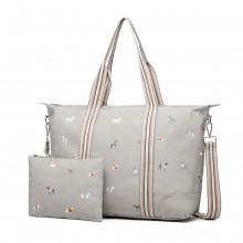 LH1929 - MISS LULU MATTE OILCLOTH FOLDAWAY OVERNIGHT BAG DOG PRINT - GREY