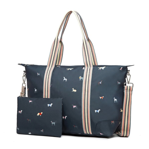 LH1929 - MISS LULU MATTE OILCLOTH FOLDAWAY OVERNIGHT BAG DOG PRINT - NAVY