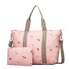 LB1929 - Miss Lulu Matte sac de voyage pliable en toile cirée imprimé Licorne Pink