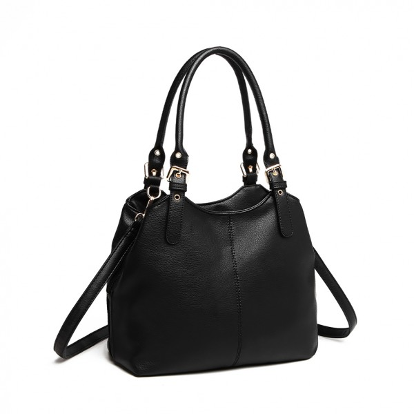LH1947 - MISS LULU MULTI COMPARTMENT SHOULDER BAG - BLACK