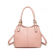 LH1947 - MISS LULU MULTI COMPARTMENT SHOULDER BAG - PINK