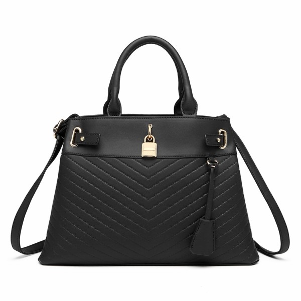 LH1962 - Miss Lulu Padlock Chevron Leather Look Shoulder Bag - Black