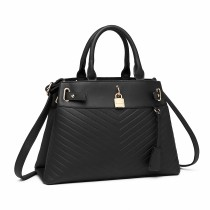 LH1962 --Miss Lulu Padlock Chevron Leather Look Shoulder Bag --Black