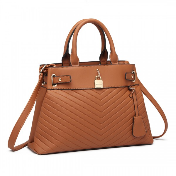 LH1962 - Miss Lulu Padlock Chevron Leather Look Shoulder Bag - Brown