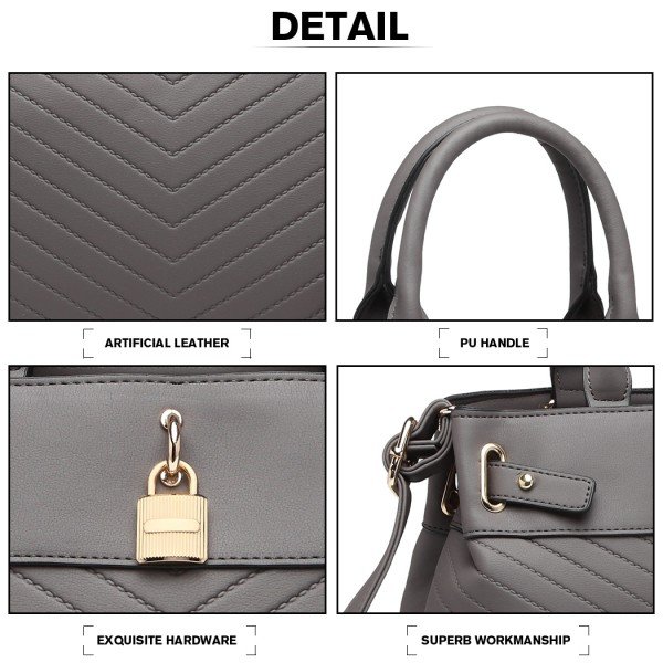 LH1962 - Miss Lulu Padlock Chevron Leather Look Shoulder Bag - Grey