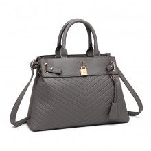 LH1962 - Miss Lulu Padlock Chevron Leather Look Shoulder Bag - Grey