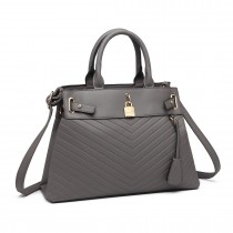 LH1962- Panna Lulu Padlock Chevron Leather Look Shoulder Bag- Grey