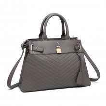 LH1962 - Umhängetasche Miss Lulu Padlock Chevron Leather Look - Grau