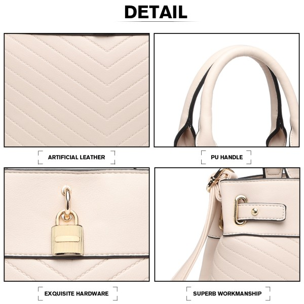 LH1962 - Miss Lulu Padlock Chevron Leather Look Shoulder Bag - Pink