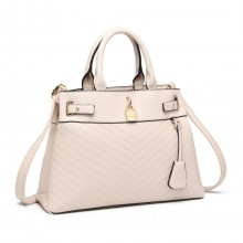 LH1962 - Miss Lulu Padlock Chevron Leather Look Shoulder Bag - Pink
