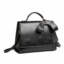 LH1964 - Miss Lulu Laser Cut Bow Shoulder Bag - Black