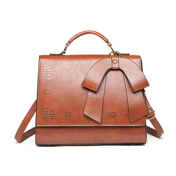 LH1964 - Miss Lulu Laser Cut Bow Shoulder Bag - Brown
