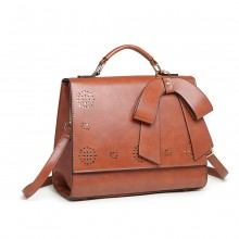 LH1964 - Miss Lulu Laser Cut Bow Shoulder Bag - Brown