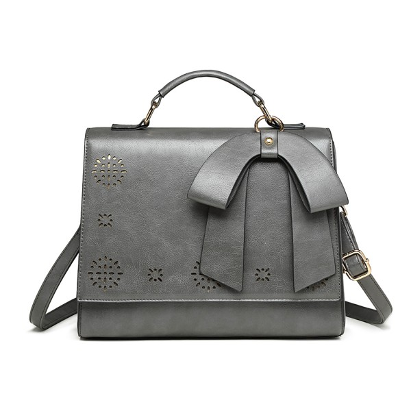 LH1964 - Miss Lulu Laser Cut Bow Shoulder Bag - Grey