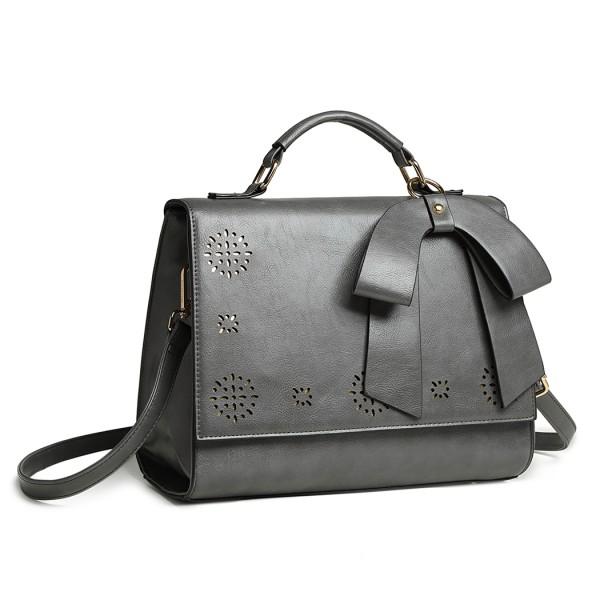 LH1964 - Miss Lulu Laser Cut Bow Shoulder Bag - Grey