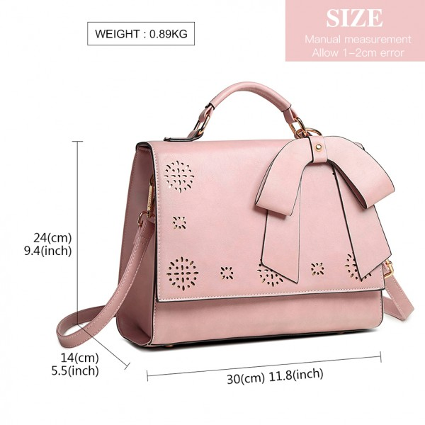 LH1964 - Miss Lulu Laser Cut Bow Shoulder Bag - Pink
