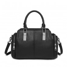 LH2004 - Miss Lulu Aspect cuir Sac à main Everyday Bowler - Noir