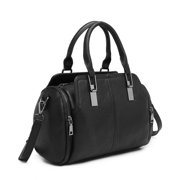 LH2004 - Miss Lulu Leather Look Everyday Bowler Handbag - Black