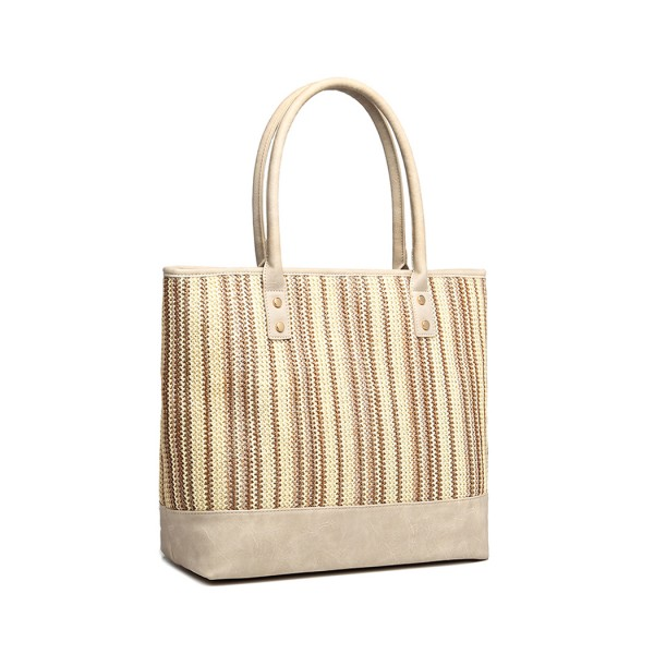 LH2009 - Miss Lulu Leather Look Woven Design Tote Bag - Beige