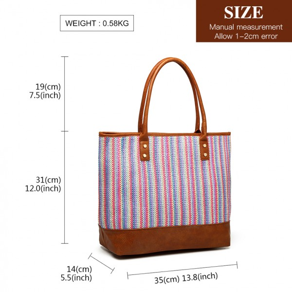 LH2009 - Miss Lulu Leather Look Woven Design Tote Bag - Brown