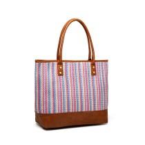 LH2009 - Miss Lulu Aspect din piele Design țesut Tote Bag - Maro