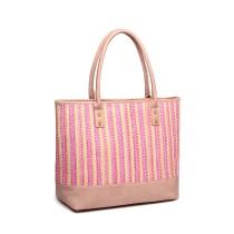 LH2009 - Miss Lulu Skóropodobny Tkany projekt Torba na zakupy - różowy