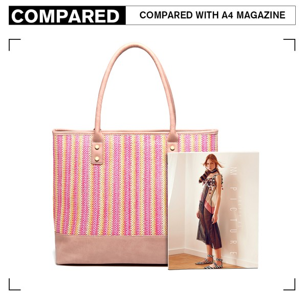 LH2009 - Miss Lulu Leather Look Woven Design Tote Bag - Pink